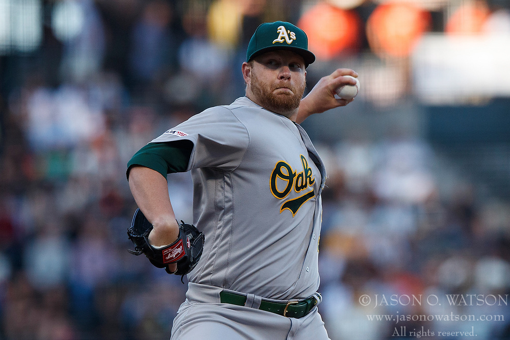 SAN FRANCISCO, CA - AUGUST 13: Brett Anderson #30 of the Oakland Athletics pitches against the San Francisco Giants during the first inning at Oracle Park on August 13, 2019 in San Francisco, California. The San Francisco Giants defeated the Oakland Athletics 3-2. (Photo by Jason O. Watson/Getty Images) *** Local Caption *** Brett Anderson