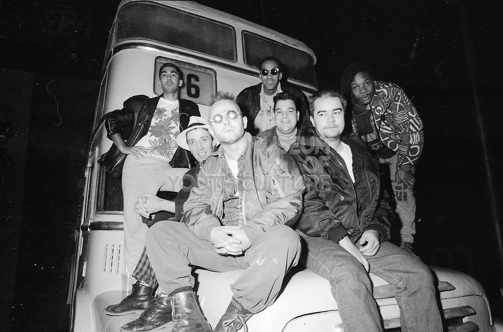 The Nutty Boys sat on bus, 1980s.