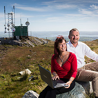 Brendan and Jane Hurley founders of Digitalforge pictured at the top of Mount Gabriel in West Cork.<br /> Digitalforge, West Cork's premier home phone and broadband supplier has this week launched its fastest ever 10GB fibre connection for its 2,000 customers throughout the region. <br /> Picture: Emma Jervis Photography
