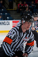 KELOWNA, CANADA - FEBRUARY 1: Referee Bryan Bourdon skates at the Kelowna Rockets against the Calgary Hitmen on February 1, 2017 at Prospera Place in Kelowna, British Columbia, Canada.  (Photo by Marissa Baecker/Shoot the Breeze)  *** Local Caption ***