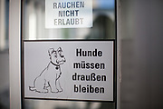 """Two sign reading""""Dogs have to stay outside"""" and """"Smoking not allowed"""" at a health insurance building in Germany."""