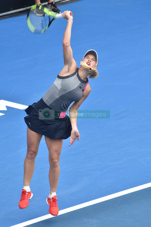 January 6, 2018 - Auckland, Auckland, New Zealand - Caroline Wozniacki of Denmark serves in her Quarter-final match against Sofia Kenin of USA during the WTA Women's Tournament at ASB Centre Count in Auckland, New Zealand on Jan 6, 2018.She defeats Sofia Kenin in three set clash to advance to the Semi-final. (Credit Image: © Shirley Kwok/Pacific Press via ZUMA Wire)