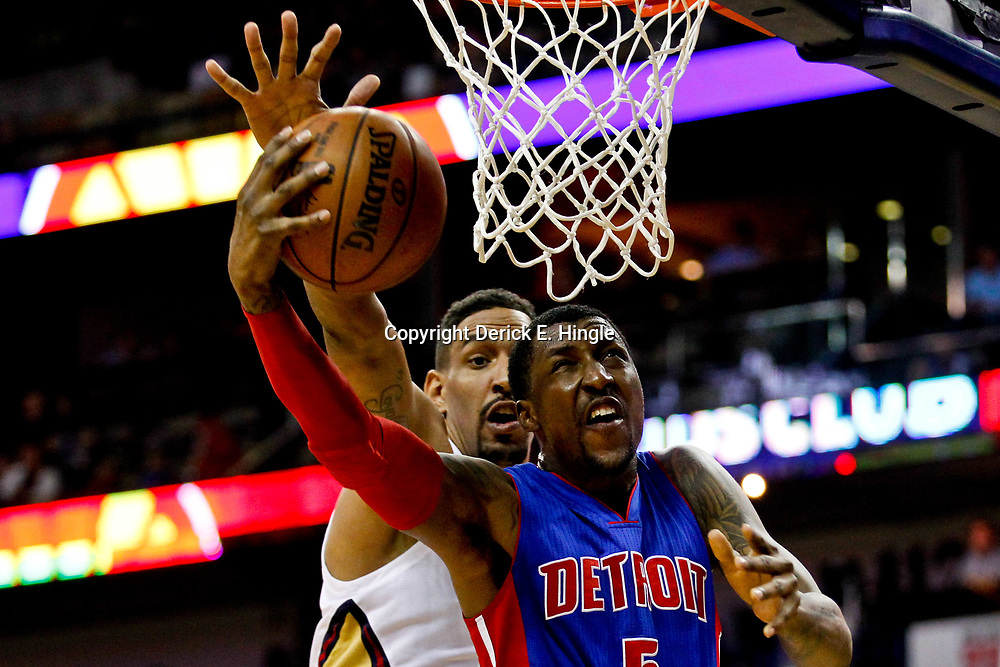 Mar 1, 2017; New Orleans, LA, USA; New Orleans Pelicans center Alexis Ajinca (42) blocks a shot by Detroit Pistons guard Kentavious Caldwell-Pope (5) during the first quarter of a game at the Smoothie King Center. Mandatory Credit: Derick E. Hingle-USA TODAY Sports