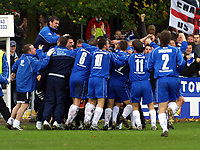 Photo: Dave Linney.<br />Chasetown v Oldham Athletic. The FA Cup. 06/11/2005.<br />Chasetown players celebrate the goal from Nicky Harrison.