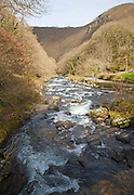 Looking downstream East Lyn River valley at Watersmeet, near Lynmouth, Exmoor national park, Devon, England