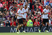Manchester United 08 XI Michael Carrick in warm up comes onto the pitch during the Michael Carrick Testimonial Match between Manchester United 2008 XI and Michael Carrick All-Star XI at Old Trafford, Manchester, England on 4 June 2017. Photo by Phil Duncan.
