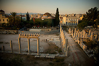 Athens, Greece- September 13, 2014: View of the Plaka neighborhood from the Roman Agora, one of the many reminders of antiquity that remain in the city center of Athens. CREDIT: Chris Carmichael for The New York Times