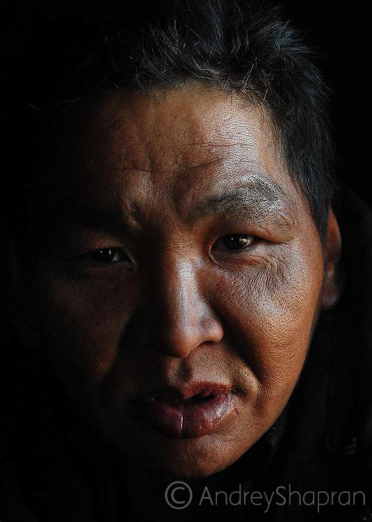Portraits of Chukchi people. The Chukchi peninsula, Russia
