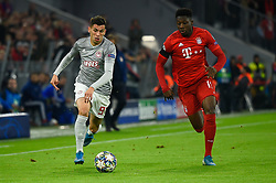 November 6, 2019, Munich, Germany: Lazar Randjelovic from Olympiacos (L) and Alphonso Davies from Bayern (R) seen in action during the UEFA Champions League group B match between Bayern and Olympiacos at Allianz Arena in Munich. (Credit Image: © Bruno De Carvalho/SOPA Images via ZUMA Wire)