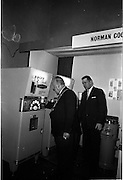 14/01/1963<br /> 01/14/1963<br /> 14 January 1963<br /> Opening of Irish Hotel and Catering Trades Exhibition at the Mansion House, Dublin. Lord mayor of Dublin Alderman J.J. O'Keeffe, T.D., P.C., takes a coffee from a self-service machine at the Irish Hotel and Catering Trades Exhibition.