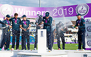 Picture by Allan McKenzie/SWpix.com - 19/05/2019 - Sport - Cricket - 5th Royal London One Day International - England v Pakistan - Emerald Headingley Cricket Ground, Leeds, England - England's Eoin Morgan is covered in champagne as England celebrate victory over Pakistan.