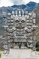 Wiracocha statue in Calca at the peruvian Andes on Cuzco Peru