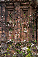 Carved celestial figures on monument C1 one of the Cham Temple ruins at the My Son Sanctuary, Quang Nam Province, Vietnam, Southeast Asia