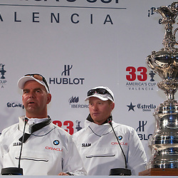 Handing over the America's Cup<br /> BMW Oracle wins the America's Cup<br /> 2010 America's Cup, Valencia<br /> ©2010 Kaufmann/Forster go4image.com