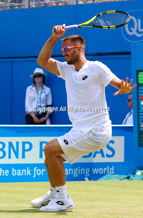June 21st 2017, Queens Club, West Kensington, London; Aegon Tennis Championships, Day 3; Viktor Troicki (SRB) hits a forehand during his second round match against Donald Young (USA)