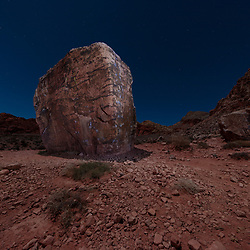 Sugar Cube Boulder during a Super Moon- Kraft Boulders - Calico Basin, Las Vegas, NV