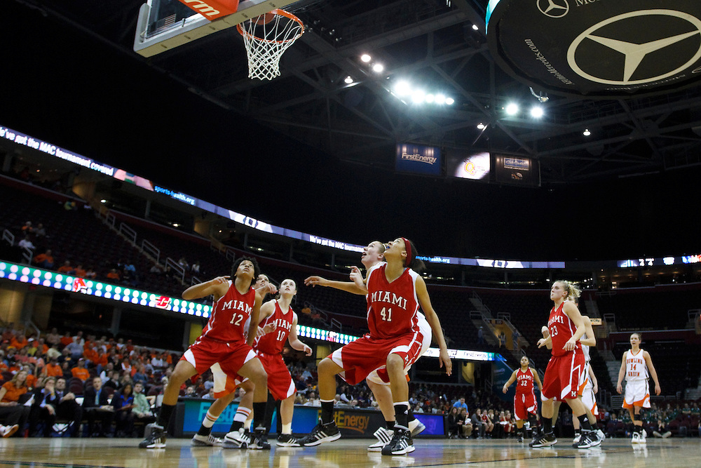 13 March 2010:   Miami's (Ohio) Lillian Pitts (12), Miami's (Ohio) Courtney Osborn (10) and Miami's (Ohio) Ashleigh Brown (41) during the MAC Tournament game basketball game betweenBowling Green and Miami Ohio at Quicken Loans Arena in Cleveland, Ohio.