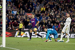 October 28, 2018 - Barcelona, Catalonia, Spain - Luis Suarez scoring his thid score during the spanish league match between FC Barcelona and Real Madrid at Camp Nou Stadium in Barcelona, Catalonia, Spain on October 28, 2018  (Credit Image: © Miquel Llop/NurPhoto via ZUMA Press)