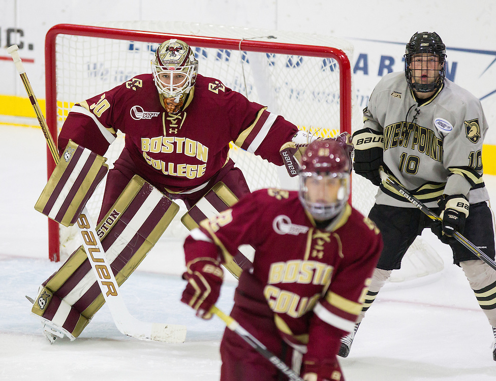 Boston College Goaltender Thatcher Demko (30) watches the puck during the second period of a NCAA hockey game between Army and Boston College  at Tate Rink on October 9, 2015 in West Point, New York. (Dustin Satloff)