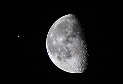 This image was taken at 6.31am on the morning of the 7th January 2018 at Glasgow, Scotland, as the International Space Station was transiting the Moon. The Moon today is in a Waning Gibbous Phase.
