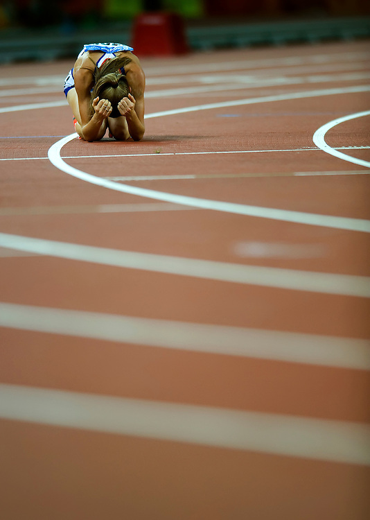 Great Britain's Lisa Dobriskey reacted to her fourth place finish in the women's 1500m final on August 23, 2008 during the 2008 Summer Olympic Games in Beijing, China. (photo by David Eulitt / MCT)