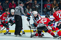 KELOWNA, BC - FEBRUARY 7: Kyle Topping #24 of the Kelowna Rockets wins the face-off against Jack O'Brien #92 of the Portland Winterhawks at Prospera Place on February 7, 2020 in Kelowna, Canada. (Photo by Marissa Baecker/Shoot the Breeze)