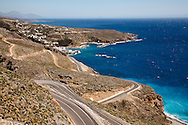 Road leaving the village of Sfakia leading to the abadoned stone village of Aradena in Chania, Crete.