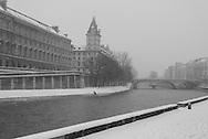 France. Paris.  the seine river under the snow