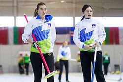 Patricija Cerne and Nika Svetina of Slovenia during curling match between National teams of Slovenia and Lithuania in 6th Round of European Curling Championship on April 29, 2016 in Ledena dvorana Zalog, Ljubljana, Slovenia. Photo By Urban Urbanc / Sportida