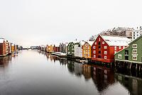 Buildings along the Nidelva River, Trondheim, Norway.