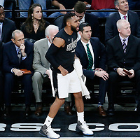03 May 2017: San Antonio Spurs guard Patty Mills (8) celebrates during the San Antonio Spurs 121-96 victory over the Houston Rockets, in game 2 of the Western Conference Semi Finals, at the AT&T Center, San Antonio, Texas, USA.