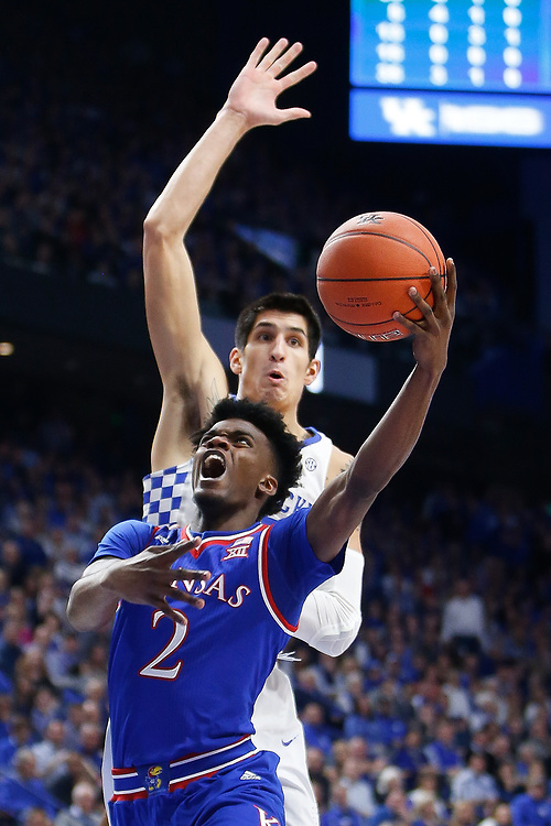 Kansas Jayhawks guard Lagerald Vick puts up a layup against the Kentucky Wildcats on Saturday January 28, 2017 at Rupp Arena in Lexington, Ky. Photo by Michael Reaves | Staff