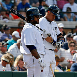 Feb 23, 2013; Lakeland, FL, USA; Detroit Tigers first baseman Prince Fielder (28) and third baseman Miguel Cabrera (24) against the Toronto Blue Jays during a spring training game at Joker Marchant Stadium. Mandatory Credit: Derick E. Hingle-USA TODAY Sports