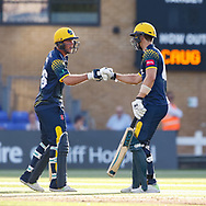 Glamorgan's Chris Cooke celebrates with team-mate Craig Meschede<br /> <br /> Photographer Simon King/Replay Images<br /> <br /> Vitality Blast T20 - Round 8 - Glamorgan v Gloucestershire - Friday 3rd August 2018 - Sophia Gardens - Cardiff<br /> <br /> World Copyright © Replay Images . All rights reserved. info@replayimages.co.uk - http://replayimages.co.uk