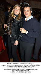 DIMITRI and CRISTINA GOULANDRIS of the greek shipping family, at a party in London on 19th November 2003.POT 212