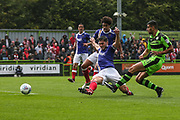 Forest Green Rovers Omar Bugiel(11) shoots at goal misses the target during the EFL Sky Bet League 2 match between Forest Green Rovers and Exeter City at the New Lawn, Forest Green, United Kingdom on 9 September 2017. Photo by Shane Healey.
