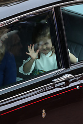 Bridesmaid Princess Charlotte arrives for the wedding of Princess Eugenie to Jack Brooksbank at St George's Chapel in Windsor Castle.