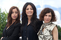 Nisrin Erradi, Director Maryam Touzani and Lubna Azabal at the Adam film photo call at the 72nd Cannes Film Festival, Monday 20th May 2019, Cannes, France. Photo credit: Doreen Kennedy