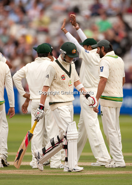 Michael Clarke walks off after being lbw Mohammad Asif during the MCC Spirit of Cricket Test Match between Pakistan and Australia at Lord's.  Photo: Graham Morris (Tel: +44(0)20 8969 4192 Email: sales@cricketpix.com) 13/07/10