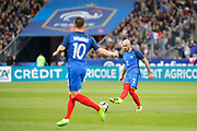 Christophe Jallet (FRA), Kevin Gameiro (FRA) during the Friendly Game football match between France and Spain on March 28, 2017 at Stade de France in Saint-Denis, France - Photo Stephane Allaman / ProSportsImages / DPPI