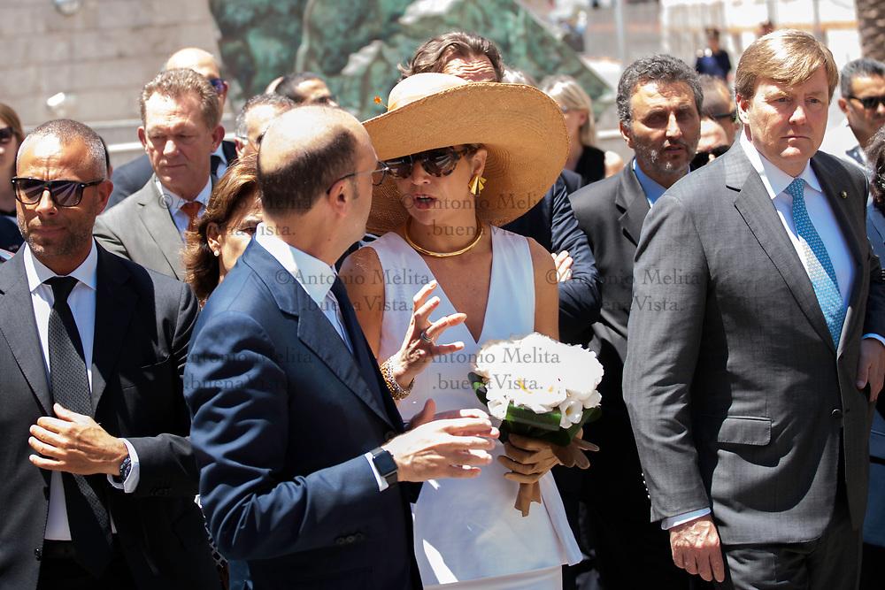 Máxima d'Olanda, in visita ufficiale a Palermo, incontra il ministro Angelino Alfano.