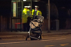 © Licensed to London News Pictures. 14/01/2019. Anerley, UK.Pushchair in the road. A mother has been killed and a child is in hosptial fighting for life after being hit by a car crossing the road in Anerley near Penge.<br />   Photo credit: Grant Falvey/LNP