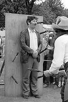 Pat Powewr, Shireoaks delegate, 1985 Yorkshire Miner's Gala. Rotherham.