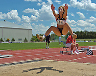 Germany's Annelie Schrader finished second in the long jump with a jump of 5.67 meters, at the Nike Combined Events Challenge at the R.V. Christian Track Complex on the campus of Kansas State University in Manhattan, Kansas, August 6, 2006.