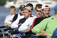The Russian national men's eight-oared crew team  works out on Montlake Cut preparing for Saturday's 20th annual Windermere Cup race in Seattle. (AP Photo/John Froschauer)