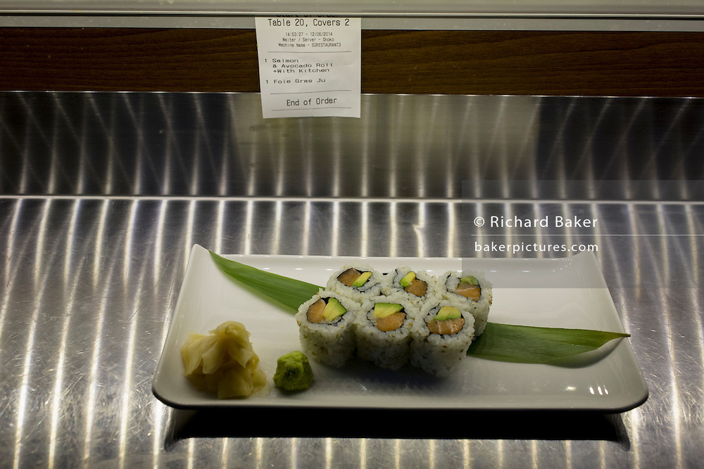 A plate of Makizushi awaiting service in 'So', a sushi restaurant in central London.