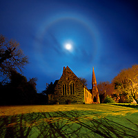 historical old ovatory in Cahersiveen with fullmoon night and  lunar halo, County Kerry, Ireland / ch237