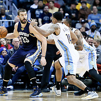 01 February 2016: Memphis Grizzlies center Marc Gasol (33) posts up Denver Nuggets forward Darrell Arthur (00) and Denver Nuggets guard Gary Harris (14) during the Memphis Grizzlies 119-99 victory over the Denver Nuggets, at the Pepsi Center, Denver, Colorado, USA.