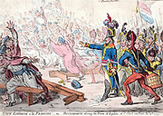 Exit Liberte al Francois! Or Buonaparte closing the Farce of Egalite, at St Cloud near Paris, Nov 10th 1799.  Napoleon's Coup d'Etat of Eighteenth Brumaire.  British cartoon by James Gillray,  21 Nov 1799.  First Consul Satire France