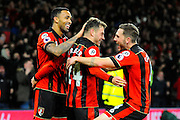 Ryan Fraser of AFC Bournemouth celebrates scoring a goal with AFC Bournemouth forward Callum Wilson and AFC Bournemouth midfielder Dan Gosling to give a 3-0 lead to the home team during the Premier League match between Bournemouth and Arsenal at the Vitality Stadium, Bournemouth, England on 3 January 2017. Photo by Graham Hunt.